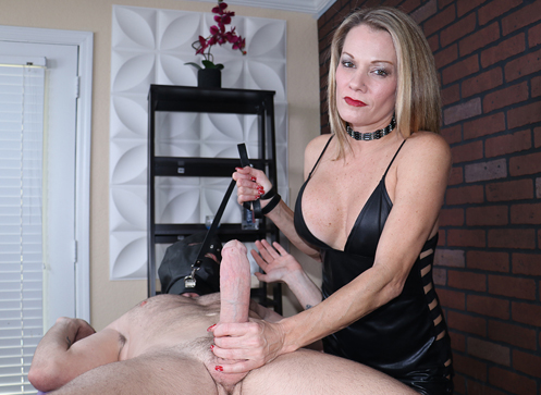 Mistress Alura stroking big cock of Flynt until it explode with cums