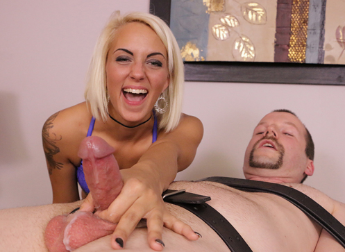 Feisty blonde dominatrix Blake gets her client tied and bound and painfully jerked to the point of orgasm